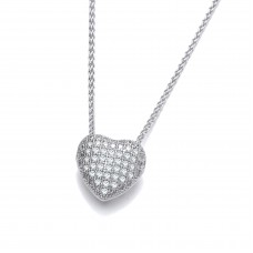 Carol Anne Silver CZ Small Pavet Set Heart Pendant - NHS10