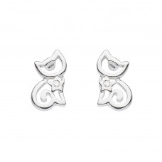Dew Silver Dinky Cat CZ Stud Earrings