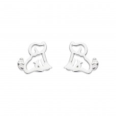 Dew Silver Cz Dog Stud Earrings