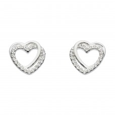 Dew Stu Entwined Heart with Rose Gold Plate and CZ Studs Earrings