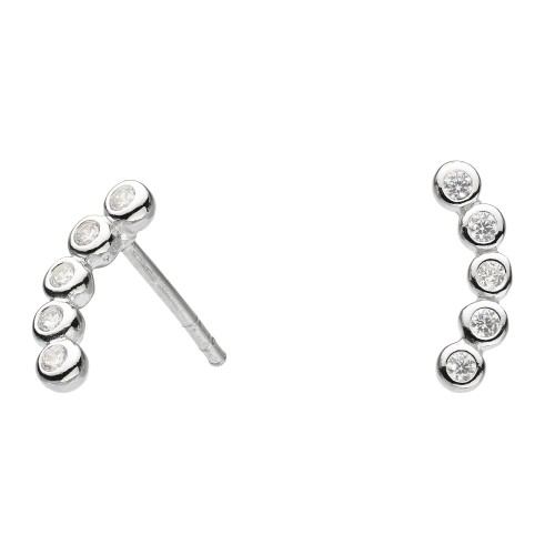 Dew Silver CZ Curved Studs Earrings