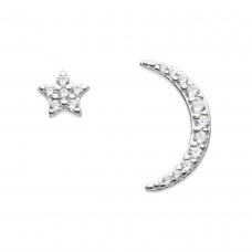 Dew Silver CZ Star & Crescent Stud Earrings