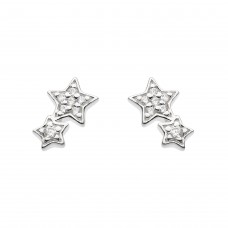 Dew Silver CZ Double Star Stud Earrings