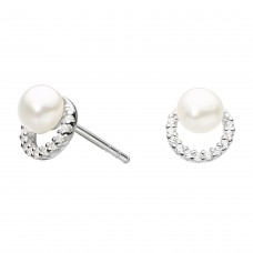 Dew Silver CZ Freshwater Pearl Studs