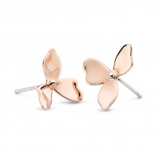 Kit Heath Silver Blossom Petal Bloom Rose Gold Plate Stud Earrings