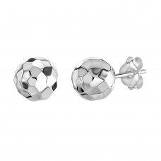 Dew Silver Diamond Cut 8mm Ball Stud Earrings