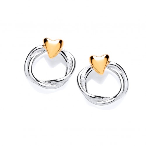 Carol Anne Silver Twisted Triple Strand Studs With Gold Plated Heart