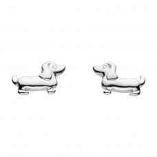 Dew Silver Sausage Dog Stud Earrings