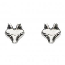Dew Silver Cunning Fox Stud Earrings