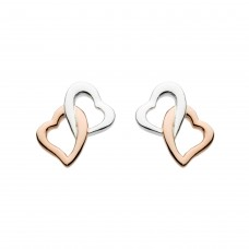 Dew Stu Interlinking Hearts with Rose Gold Plate Studs Earrings