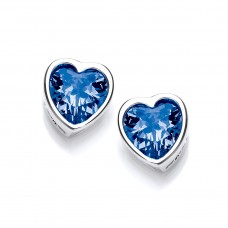 Carol Anne Silver Tiny Blue CZ Heart Studs
