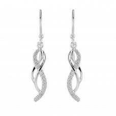 Dew Silver CZ Vine Drop Earrings