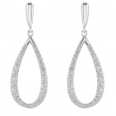 Dew Silver Elliptical CZ Drop Earrings