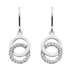 Dew Silver Double Open Circle CZ Drop Earrings
