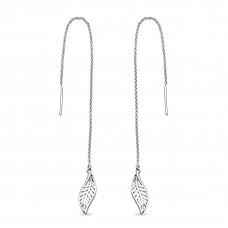 Kit Heath Silver Blossom Eden Leaf Pull Through Earrings