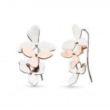 Kit Heath Silver Blossom Petal Bloom Rose Gold Plate Drop Earrings