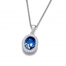 Carol Anne Silver Faceted Oval Blue Crystal Pendant with CZ Surround