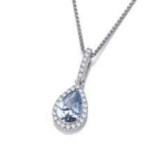Carol Anne Silver Aqua CZ Teardrop Penadnt with CZ Surround