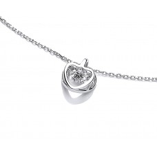 Carol Anne Silver Hanging CZ In Open Heart Necklace