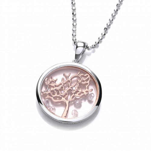 Carol Anne Silver and Rose Gold Plate CZ Celestial Tree of Life Pendant