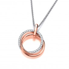 Carol Anne Silver and Rose Gold Plate Triple Loop CZ Pendant