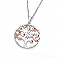 Carol Anne Silver and Rose Gold Plate Tree of Life Pendant