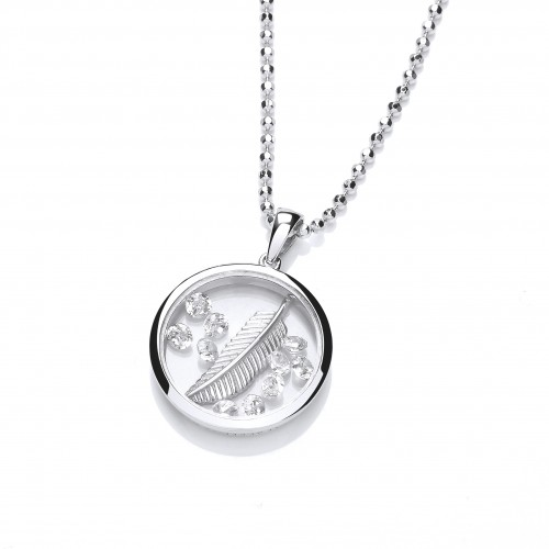 Carol Anne Silver Celestrial Falling Feather Pendant with Floating CZ