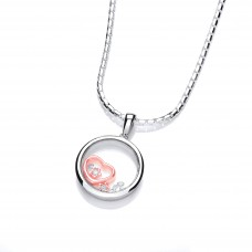 Carol Anne Silver and Rose Gold Plate Celestrial Love and Beauty CZ Pendant
