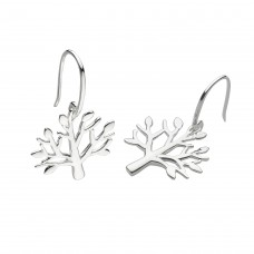 Dew Silver Tree Drop Earrings