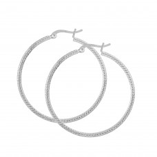 Dew Set Rope Detail 40mm Hoop Earrings