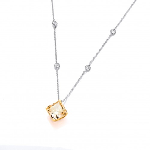 Carol Anne Silver and Gold Plate CZ Citrine Vintage Square Claw Set Necklace