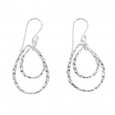 Dew Silver Hammered Tear Drop Earrings