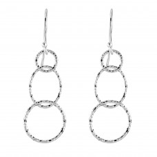 Dew Silver Hammered Circle Drop Earrings
