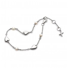 Kit Heath Silver Desire 'Kiss' Heart Freshwater Pearl Bracelet
