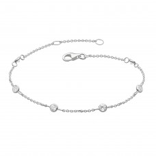 Dew Silver CZ Scattered Chain Bracelet