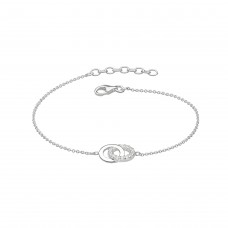 Dew Silver Double CZ Circle Bracelet