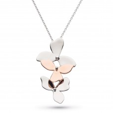 Kit Heath Silver Blossom Bloom Rose Gold Plate Necklace
