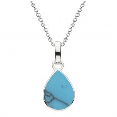 Dew Silver Pear Shape Synthetic Turquoise Pendant