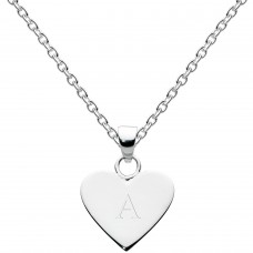 Dew Silver Dinky Heart Alphabet A Pendant