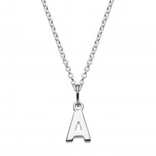 Dew Silver Dinky A Initial Pendant