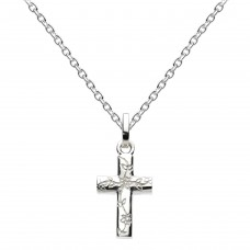 Dew Silver Small Engraved Cross Pendant