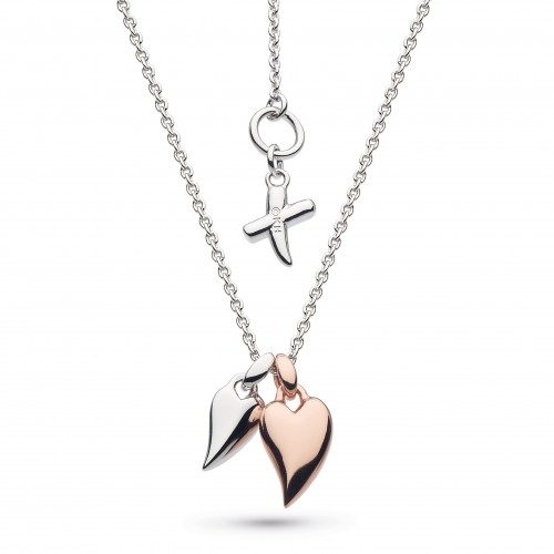 Kit Heath Silver Desire Mini Heart Rose Gold Plate Necklace