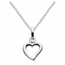 Dew Silver Dinky Small Open Heart Pendant
