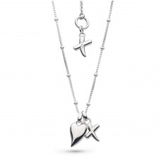 Kit Heath Silver Desire Kiss & Heart Necklace