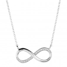 Dew Silver Large Infinity CZ Necklace