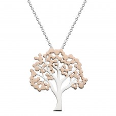 Dew Silver Glowing Tree with Rose Gold Plate Pendant