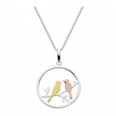 Dew Silver Love Birds with Gold Rose Gold Plate Pendant