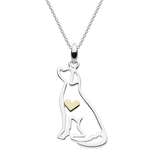 Dew Silver Labrador with Gold Plate Heart Pendant
