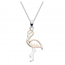 Dew Silver Flamingo Rose Gold Plate Pendant