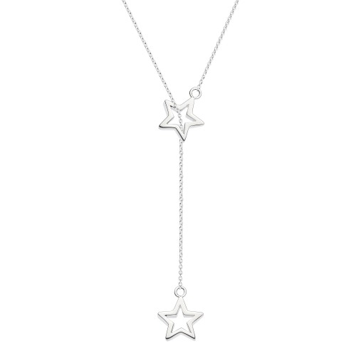 Dew Silver Double Star Lariat Necklace